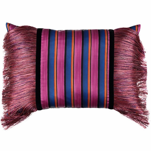 Mariska Meijers - Fringed Stripes Pink Pillow