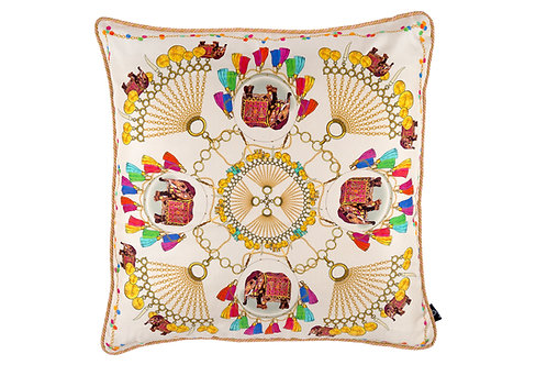 Bivain Elephant Festival Large Silk Cushion