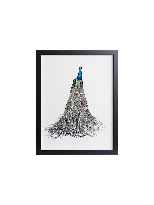 Lincoln The Peacock Hand Embroidered & Beaded Artwork by Susannah Weiland