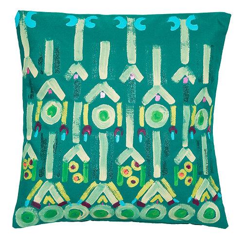 Le Botteghe d'Arte Green Colours Hand Painted Artisan Cushion