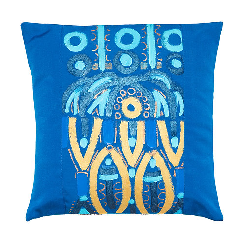 Le Botteghe d'Arte Blue Hand Painted Artisan Cushion