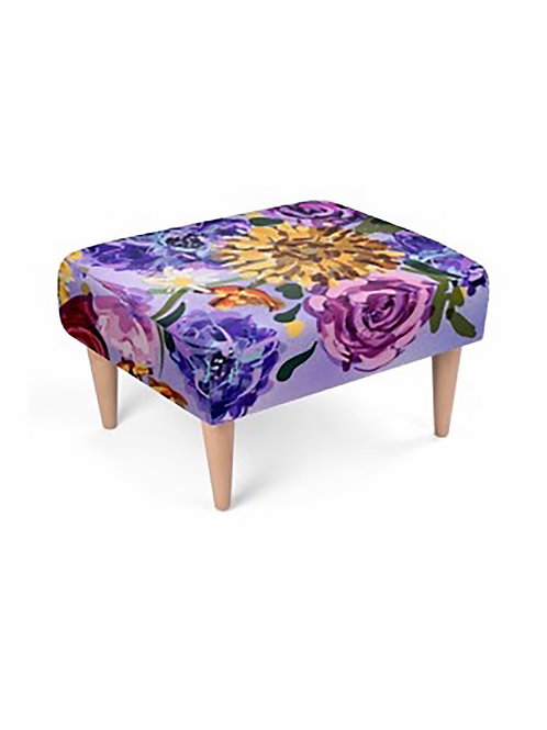 Purple Floral Footstool