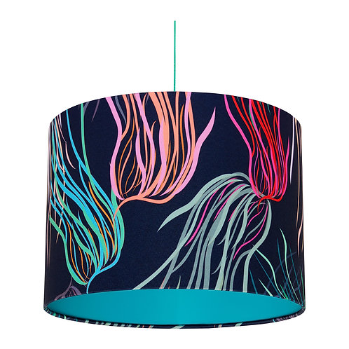 Black Patterned Lampshade with Lagoon Blue Inner