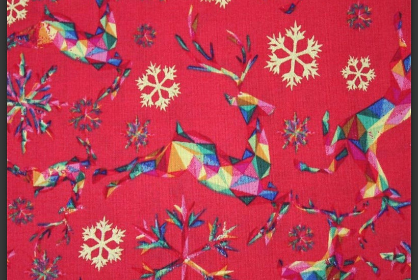 Prancing reindeer on red 100% cotton