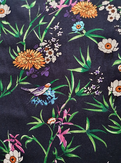 Little Birds Navy-Viscose