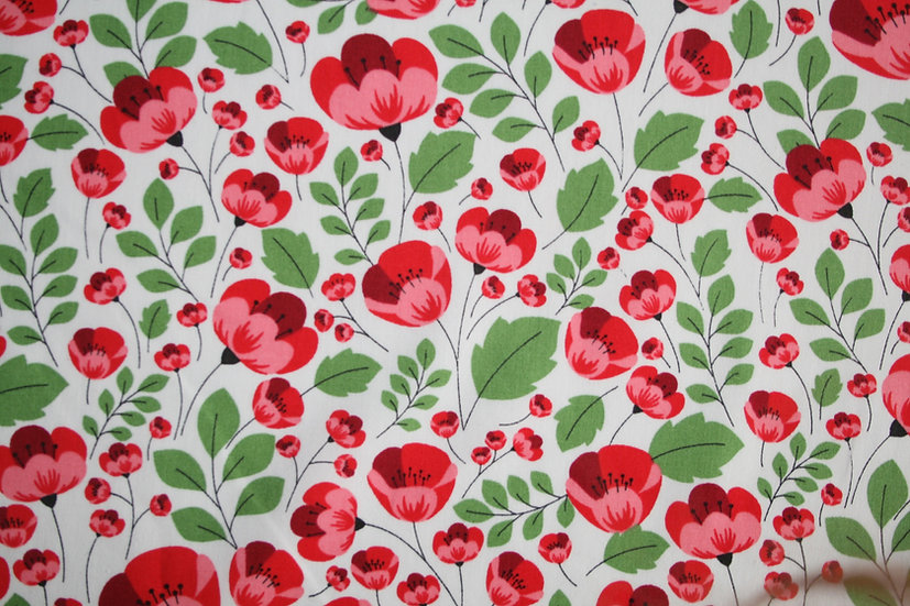 Red Poppy on White 100% Cotton- Rose & Hubble