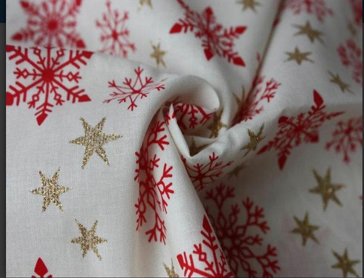 Red & metallic gold stars 🌟 100% cotton