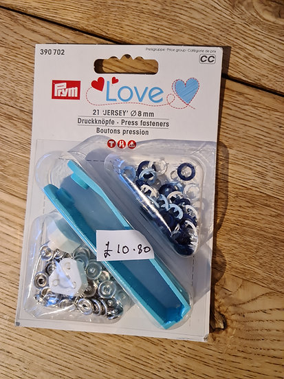 Jersey press fasteners 8mm navy, light blue &white mixed pack