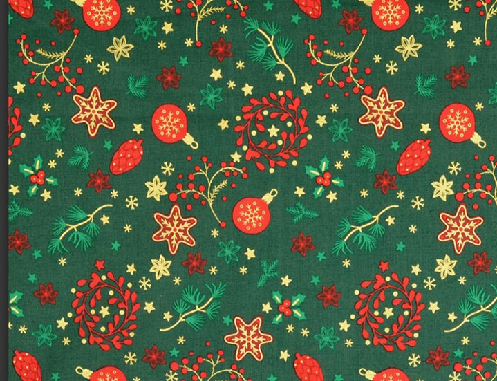 Metalic Christmas baubles & Wreaths 100 % Cotton