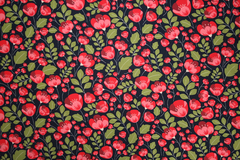 Poppy field navy 100% Cotton- Rose & Hubble