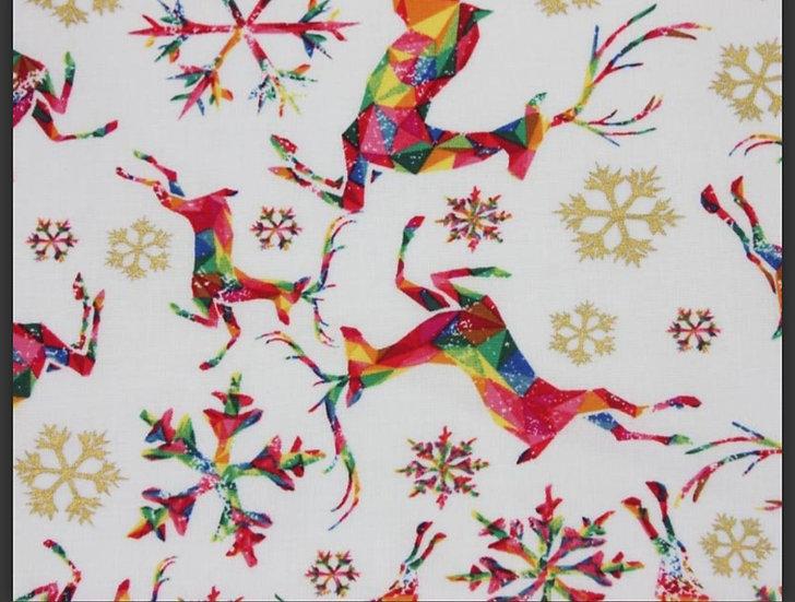 Prancing reindeer on white 100% cotton