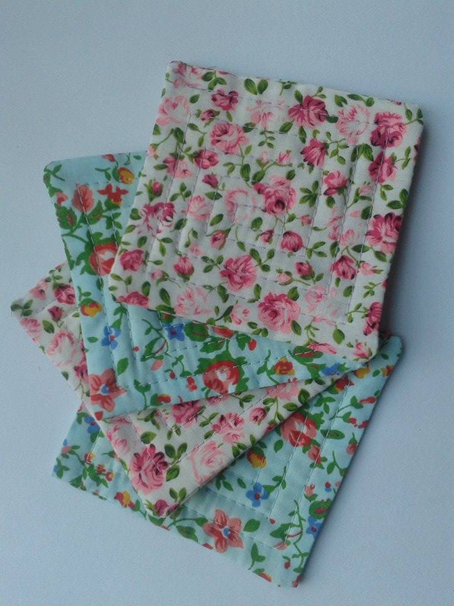 Flowery Fabric Coasters