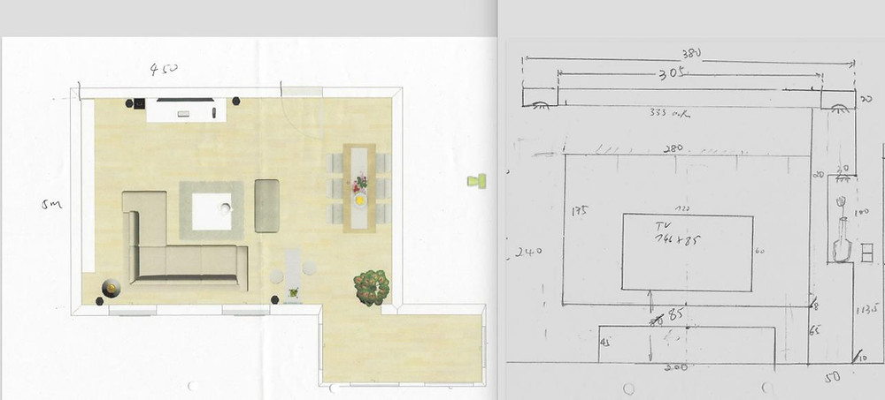 Planskizze und Bauzeichnung für Heimkino