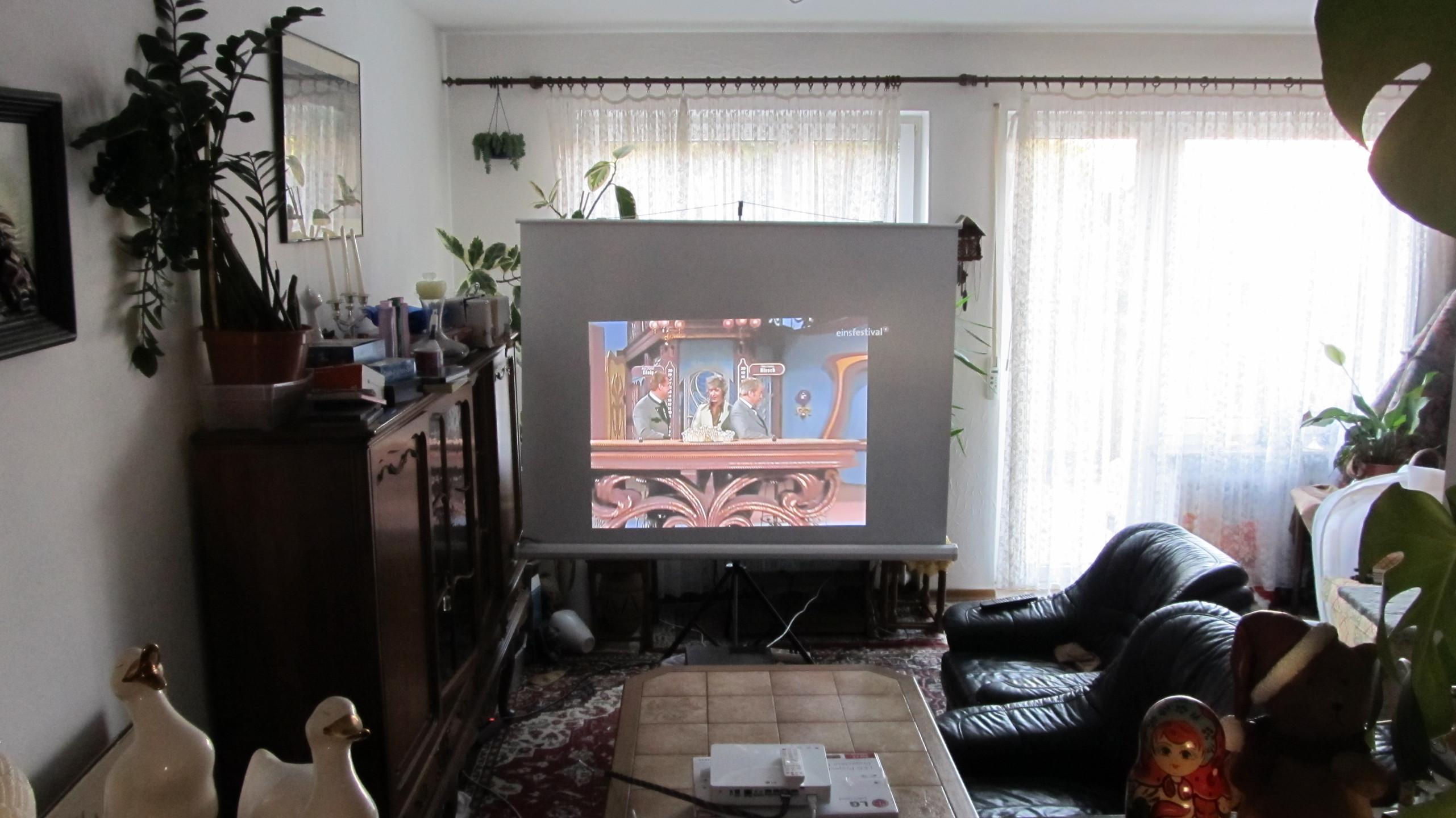 Beamer im Wohnzimmer Vorstellung vs. Realität