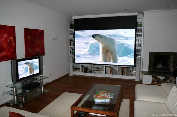 Kino-im-Wohnzimmer-Leinwand vor Regal