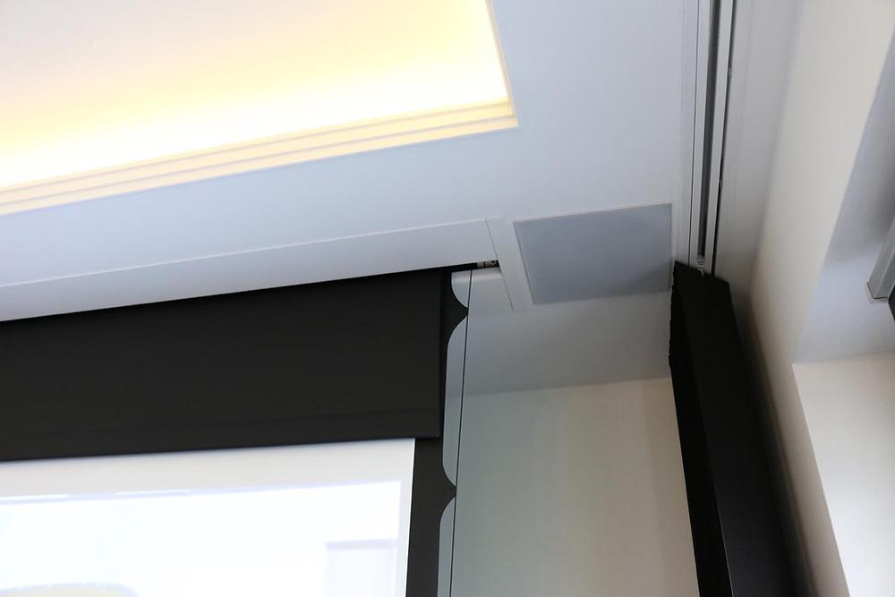 In-Ceiling Leinwand, Deckeneinbaulautsprecher und Vorhang in Lichtvoute eingelassen