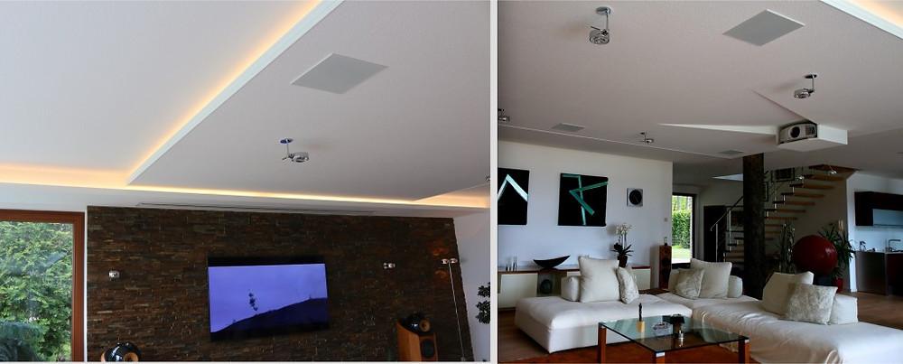 Decken-Lichtelement integriert mit eingesenkten Beamerkasten und Deckenlautsprecher