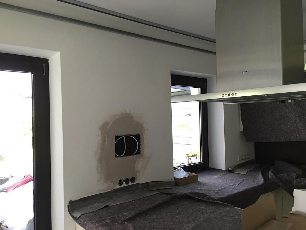 Baufoto Vorbereitung iPad in Wand einlassen