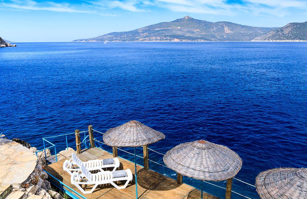 sea platform and sun beds