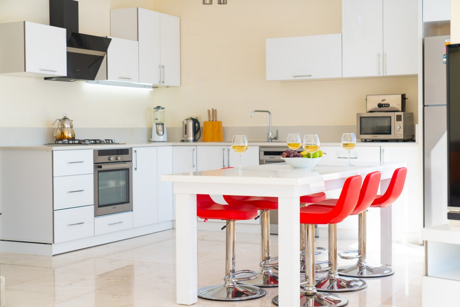 kitchen and red chairs