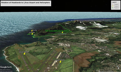 Relation of Headlands to Lihue Airport a