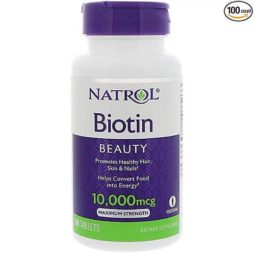 Biotina da Natrol de 10.000mcg com 100 tabletes