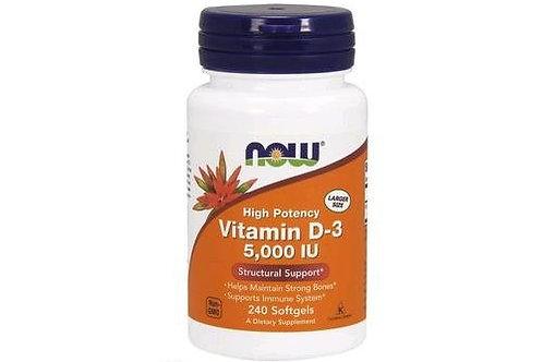 Vitamina D3 5.000IU da NOW com 240 softgels