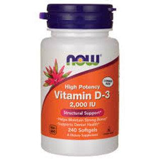Vitamina D3 2.000IU da NOW com 240 softgels