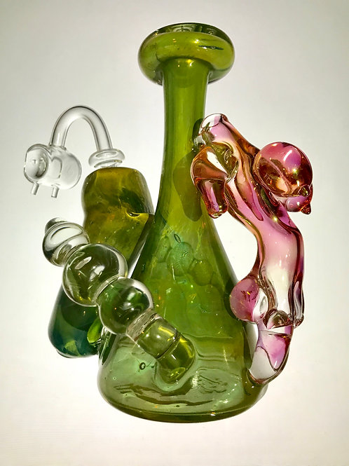Heady Green and Pink Fumed Rig