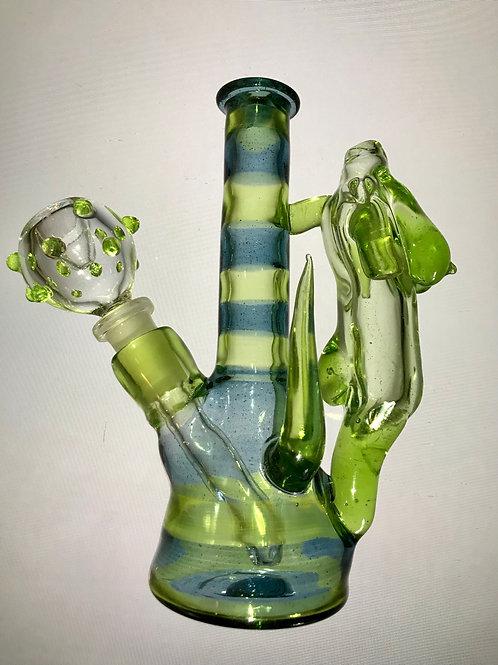 Green & Blue Striped Heady Bong