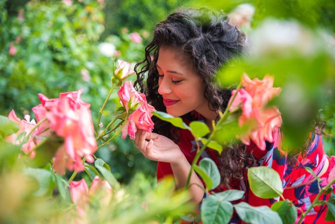 Female Senior - Smelling Roses