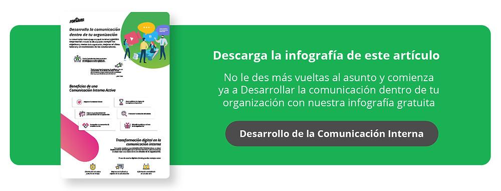 No le des más vueltas al asunto y comienza ya a desarrollar la comunicación dentro de tu organización con nuestra infografía gratuita.