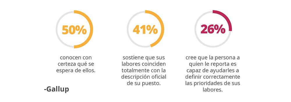 50% conocen con certeza qué se espera de ellos. 41% sostiene que sus labores coinciden totalmente con la descripción oficial de su puesto. 26% cree que la persona a quien le reporta es capaz de ayudarles a definir correctamente las prioridades de sus labores.