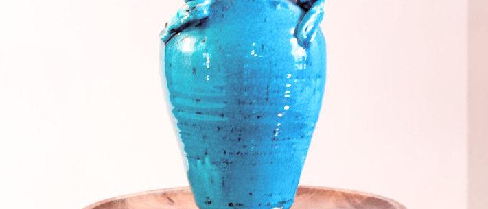 Cerulean Amphora w/ Swirled Accents
