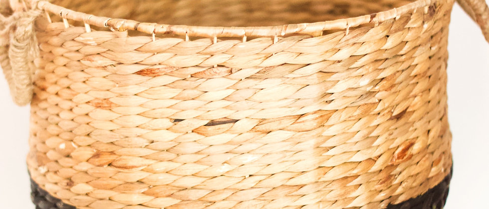 Brown and Cream Wicker Basket