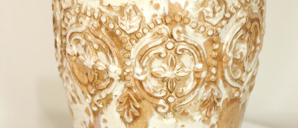 Cream and Dark Brown Vase
