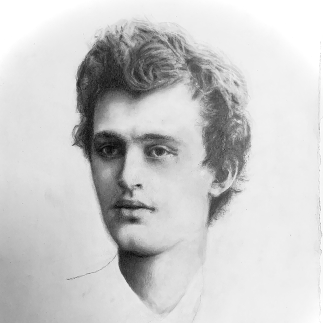 Portrait of young Edvard Munch, from photo by Munchmuseet/Wolday, Mekonnen