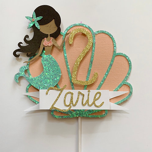 Mermaid Cake Topper in Peachy Under the Sea