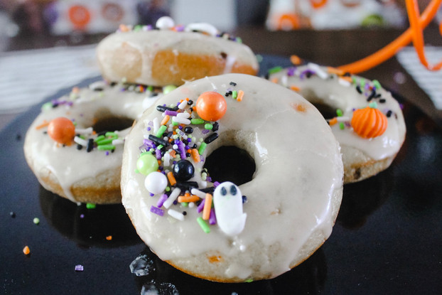 Spooky Cute Donuts! Halloween Confetti Baked Donuts Recipe