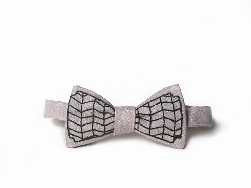 Embroidered 100% Linen || Herringbone Cage Bow Tie