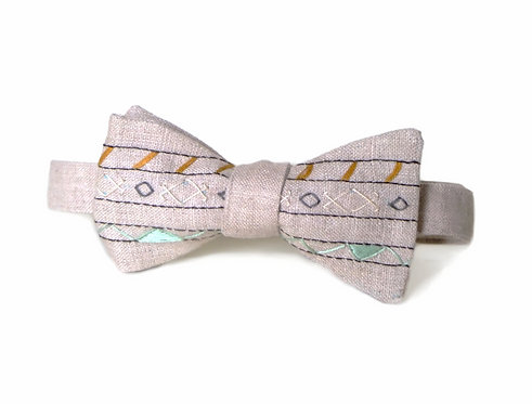 Embroidered 100% Linen || Geometric Rows Bow Tie
