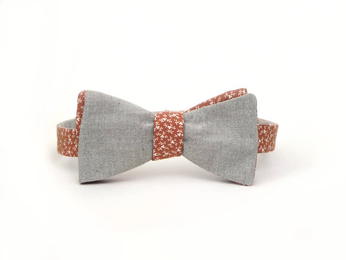 Vintage floral + Chambray Bow Tie || 100% Cotton