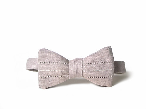 Embroidered 100% Linen || French Hemstitch Bow Tie