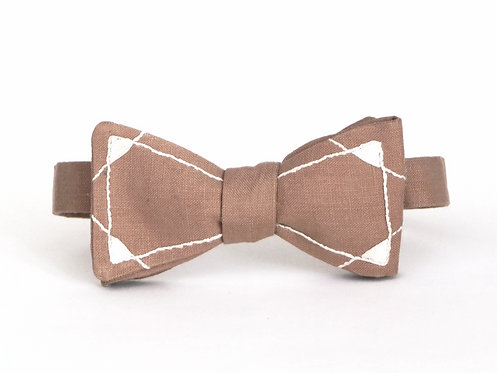 Embroidered 100% Linen || Capped Lines Bow Tie