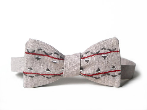 Embroidered 100% Linen || Geometric Forms  Bow Tie