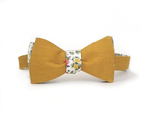 Unisex Reversible Mustard & Floral || Silk + Linen