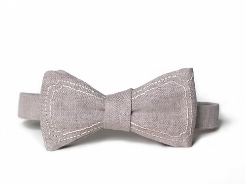 Embroidered 100% Linen || Double Outlined  Bow Tie