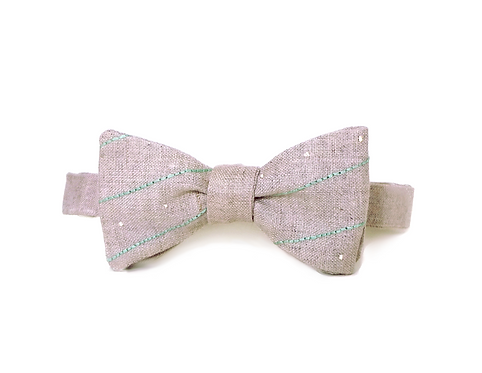 Embroidered 100% Linen || Turquoise Stripe Bow Tie