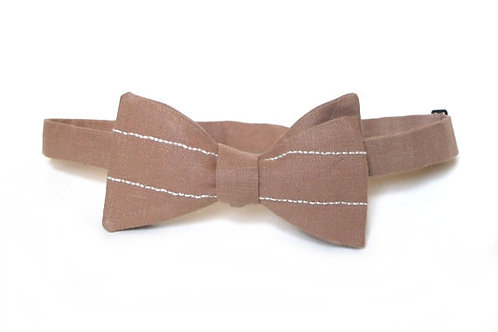 Embroidered 100% Linen || Camel Lines      Bow Tie