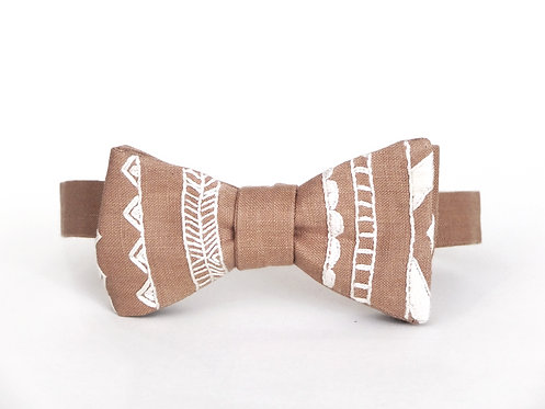 Embroidered 100% Linen || Aztemetric Bow Tie